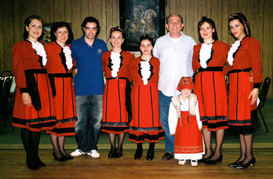 Bashkim Braho (right) and son Donald with Waterbury Albanian Dancers, Albanian folk dance, ; Waterbury, Connecticut; Photography by Lynne Williamson