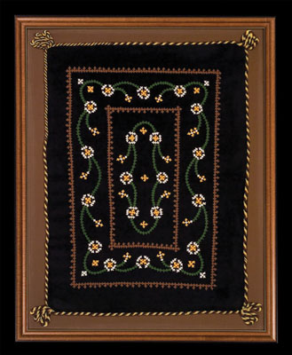 Pillowcase, Armenian embroidery, 1951; Anahid Kazazian (b. 1934); Lexington, Massachusetts; Velvet, cotton thread; 30 x 24 x 1 1/2 in. framed; Collection of the artist; Photography by Jason Dowdle